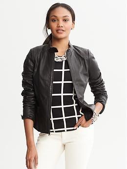 Short Black Leather Jacket | Black Leather Moto Jacket | Banana
