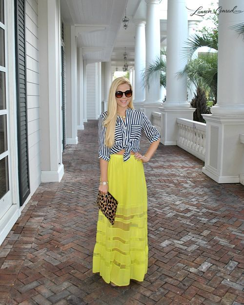Looking for discount designer fashion? Come visit www.kpopcity.net today!!! yellow maxi skirt  tied-up striped shirt #style