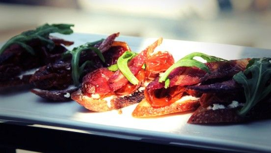 BLT Crostini with slow roasted heirloom tomatoes from Round Pond ...