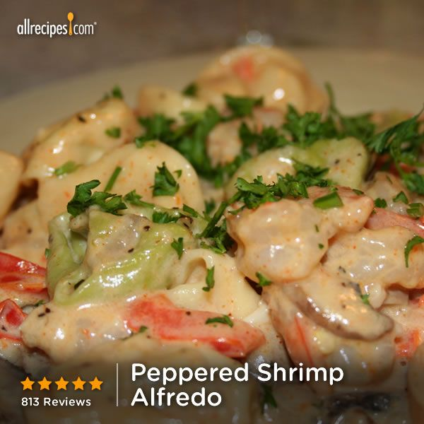 "Peppered Shrimp Alfredo | ""This was awesome. I sautéed my veggies in ..."