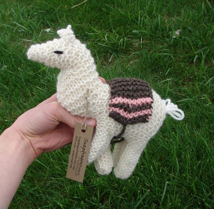 Llama, wool toy - knit natural toy llama, alpaca stuffed animal - whi?