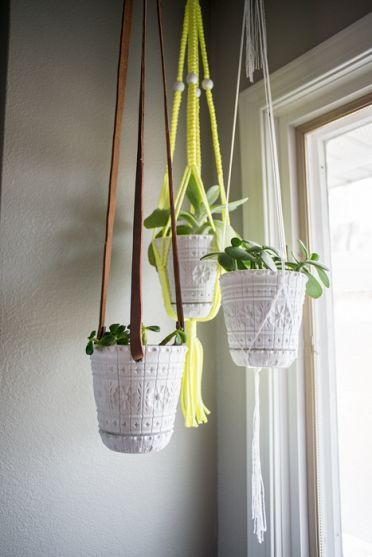 DIY plant hanger using an old belt and a planter!