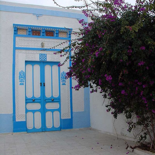 Tunisian Door with Bougainvillea