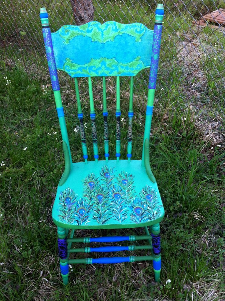 Child s hand painted rocking chair - Peacock Theme Painted Chair Painted Furniture Pinterest