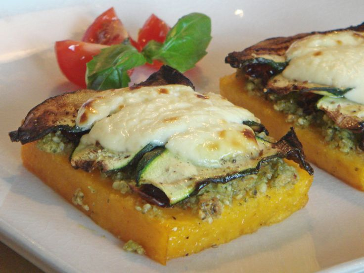 Grilled Polenta with Almond Pesto, Dried Tomatoes and Zucchini | Reci ...