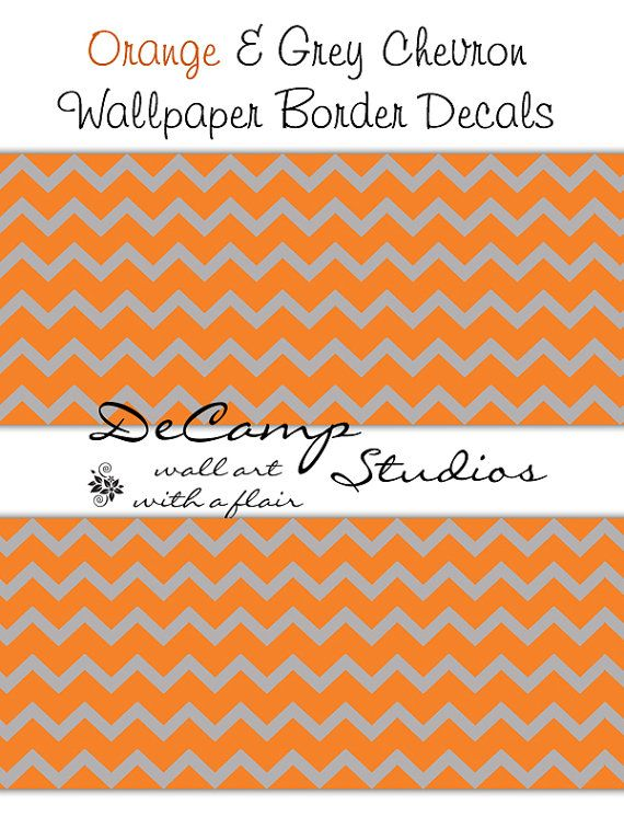 Orange and Grey Chevron wallpaper wall art border decals for any    Orange Chevron Wallpaper