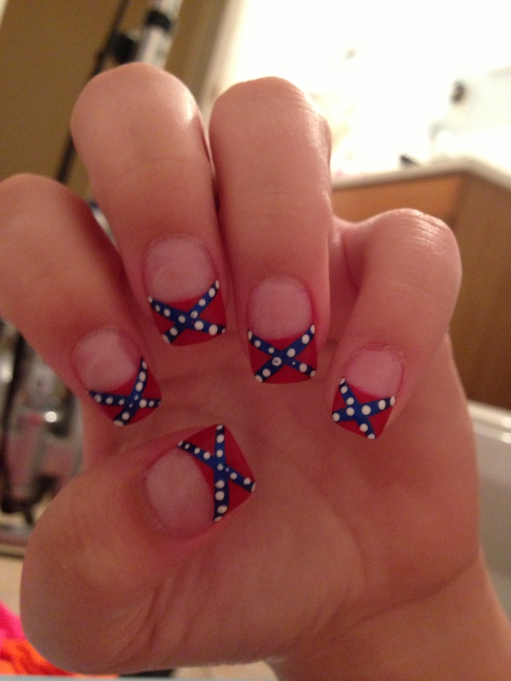 Rebel flag acrylic nails :)