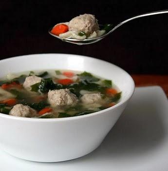 Italian Wedding Soup with turkey meatballs