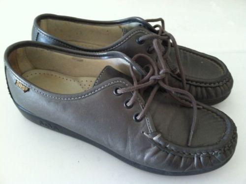 SAS+shoes+women's+8+M+pewter+comfort+lace+up+OXFORD+LOAFERS+EUC