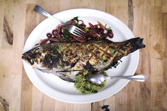 Whole Grilled Bass With Olives, Onion, And Artichoke Recipes ...