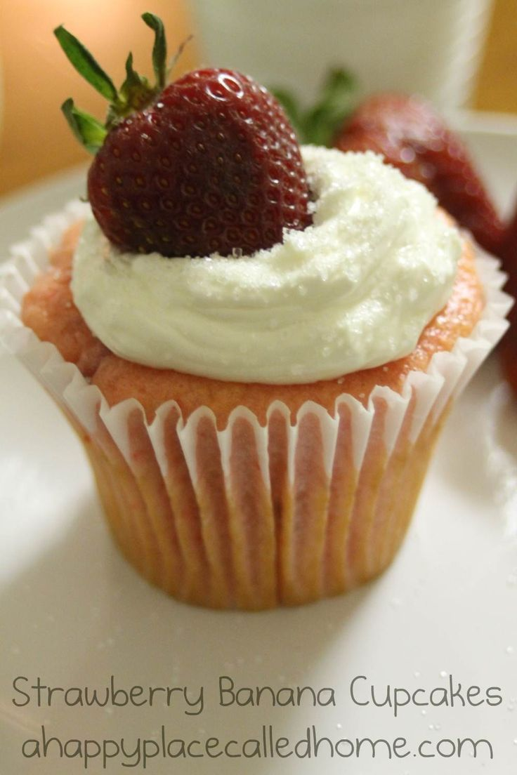 Strawberry Banana Cupcakes Recipe — Dishmaps