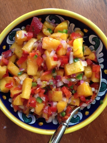Summer Peach Salsa. This would be good on tilapia and other meats.