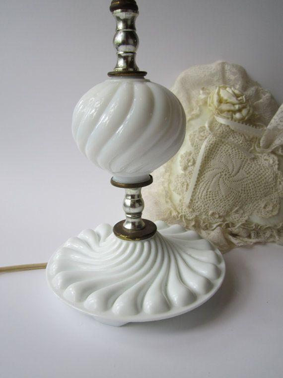 vintage milk glass lamp cottage chic