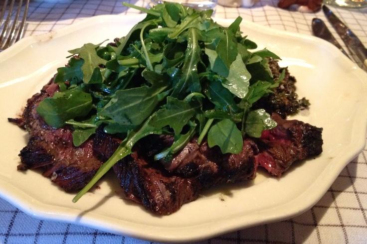 Marinaded Hanger Steak Salad with Arugula & Black Olive Salsa Verde