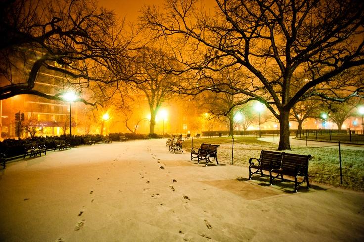 Snowy Night in Washington Circle, Washington DC