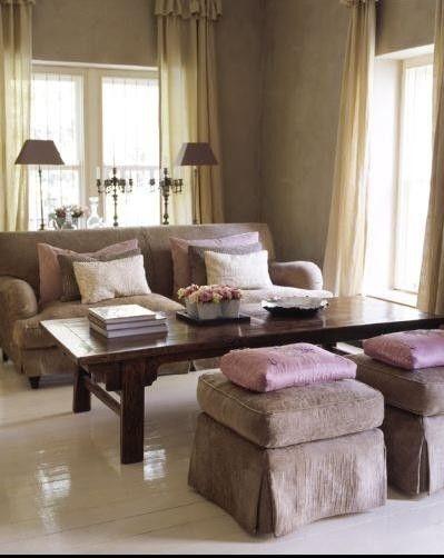 pink lavender brown living room