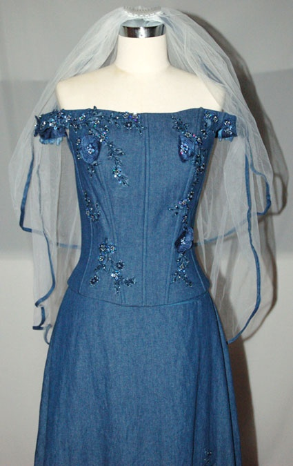 Blue Jean Wedding Dresses : Denim blue wedding gown porcelain