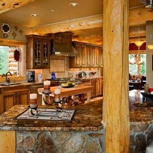Beautiful Kitchen Inside A Log Homes Western Home Kitchen Dini
