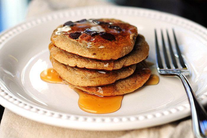 Gluten-free oatmeal chocolate chip banana pancakes - vegan oat banana ...