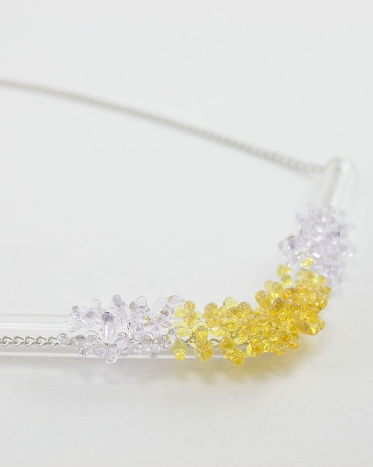 Image of Yellow / Lilac Cluster Bar Necklace
