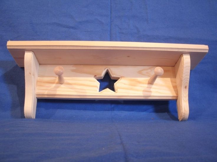 Pine Wooden Shelf 16 in. With Star Unfinished