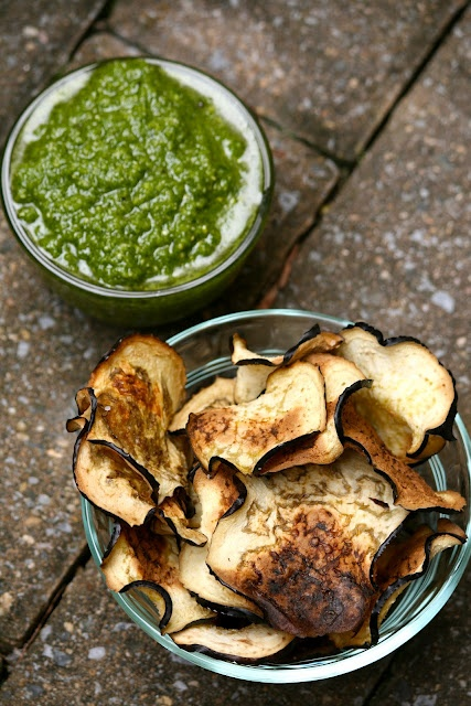 Eggplant chips with cilantro pesto...must try! So many good recipes ...