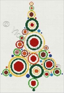 Circles Christmas tree cross stitch kit or pattern | Yiotas XStitch