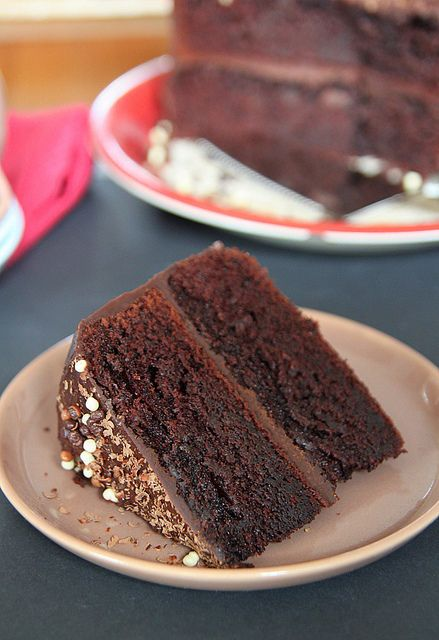 Double chocolate layer cake filled and frosted with chocolate ganache ...