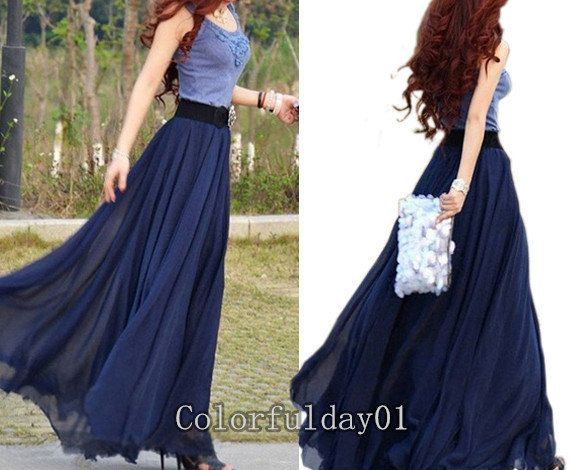 Long Navy Blue Maxi Skirt | Jill Dress