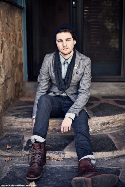 grey blazer, blue jeans, boots, scarf