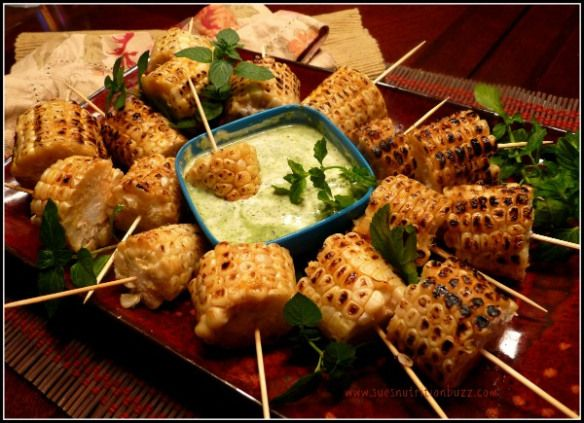 Grilled corn with flavor! Mint yogurts dipping sauce.
