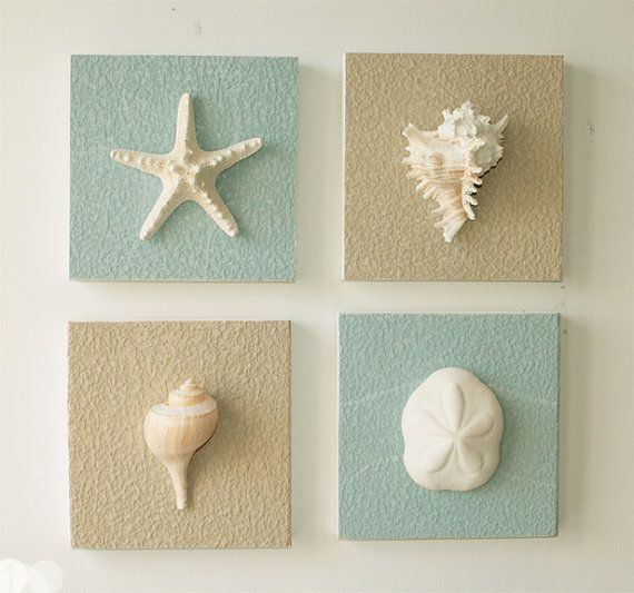 beach decor on driftwood panel for coastal wall by