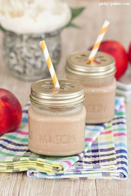 Peaches and Cream Cinnamon Spice Frosty. I like the mini mason jar ...