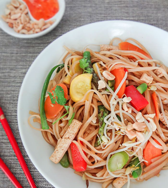 Vegetarian Pad Thai with stir-fried veggies, tofu, and the prefect pad ...