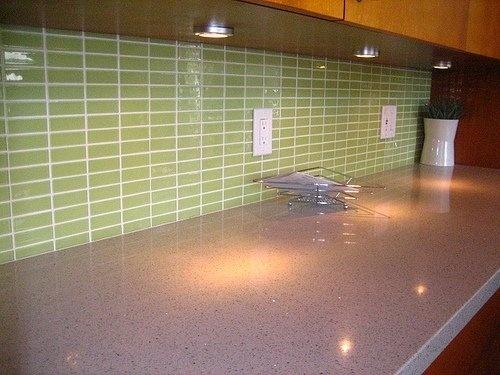 stacked glass subway tile kitchen backsplash in light green perfect