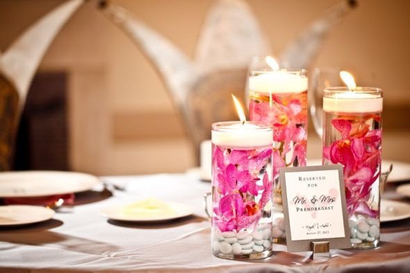 Floating candles and 3 tiered vases
