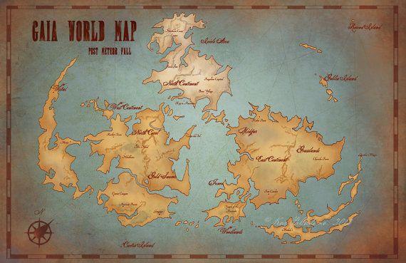 Gaia World Map Final Fantasy VII Vintage Style Art Gamer Print