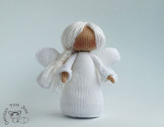 Knitting Pattern Angel Ornament : White Winter Angel - pdf knitting patterns. Christmas ...