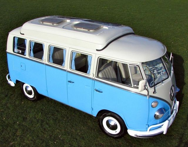 Panoramic View: Beautiful '64 VW 13-Window Bus with Dormobile Top - RodAuthority.com