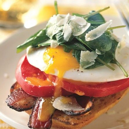 ... can't go vegan :( open face bacon and egg sandwiches with arugula