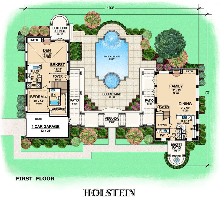 Tuscan House Plans with Courtyard