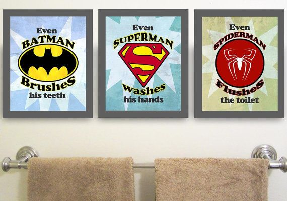 Gentil Superhero Brush Wash Flush Superhero Brush Wash Flush Personal Hygiene  Bathroom Wall Art Decor (u2026