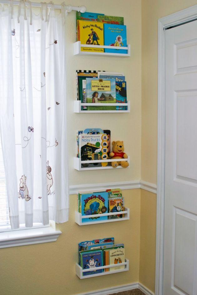 4 dollar IKEA spice racks turned kids book storage what a fabulous idea