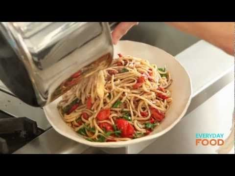 Linguine with Tapenade, Tomatoes, and Arugula | Recipe