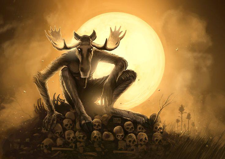 Scary moose man with skulls horror art fantastical art pinterest