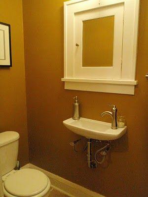 Tiny half bath for the home pinterest for Super tiny bathroom ideas