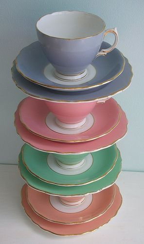 Harlequin Tea Cups by the Colclough China Company