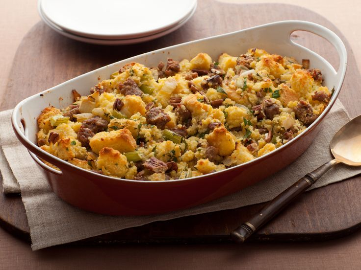 Cornbread Stuffing with Apples and Sausage from FoodNetwork.com (The ...
