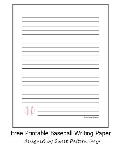 Baseball writing paper