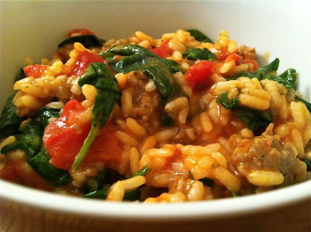 Tomato And Sausage Risotto with spinach. One bowl meal that's easy and ...